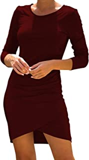 Pink Queen Women's Casual High Low Dresses Back Ruched Dress