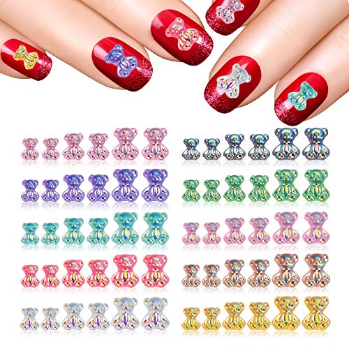 60 Pcs 3D Cute Bear Resin Crystal Aurora Rhinestones Art Accessories for Nail,in 10 Styles Nail Glitter Jelly Ornaments 3 Sizes Cute Bear Ornaments Manicure Design