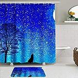 Juego de Cortinas y tapetes de Ducha de Tela,Fairy Starry Moon Night Theme Wild Tree and Wolf,Cortinas de baño repelentes al Agua con 12 Ganchos, alfombras Antideslizantes