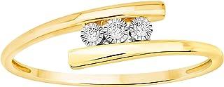 اتيرنال ديا ميراكل مطلي ثلاثة أحجار 0.03 قيراط الماس التفاف الدائري 10 قيراط الذهب الأصفر (0.03 قيراط ، IJ-K اللون ، I2-I3...