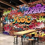 Self-Adhesive Wallpaper Street Hip Hop Graffiti Art Picture Decoration Wallpaper Wall Decoration for Bedroom Living Room Decor Wall Mural- 79X55 inch