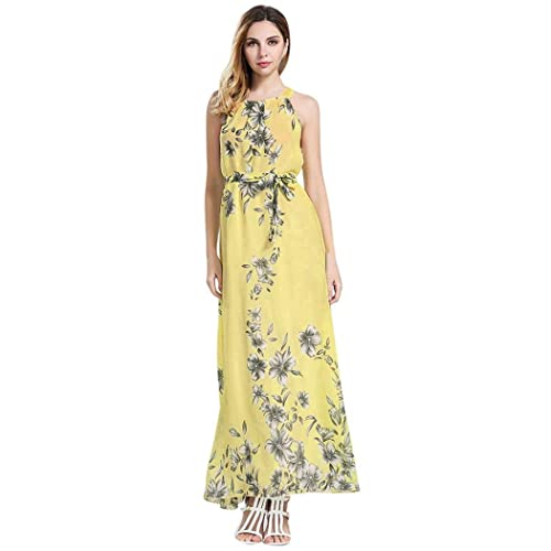5c5835a2cb Womens Summer Sleeveless Boho Floral Print Chiffon Beach Long Maxi Dress  Floor Length Dress Black
