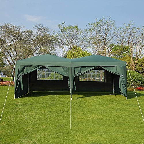 Quick Tent 6 x 3m Heavy-Duty Waterproof pop-up Gazebo with Sides and Bags #170g PU Coated Fabric # Easy to Set up,Green