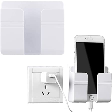 2Pcs Wall Mount Phone Holder 3M Adhesive Mobile Phone Charging Stand Holders Remote Control Stand Multipurpose Storage Box for Home Office (White)