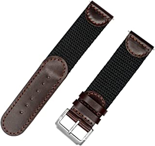 IVAPPON Men's Calfskin Leather and Nylon NATO Watch Strap Swiss-Army Style Watch Band
