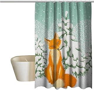 Genhequnan Fox Shower Window Curtain Waterproof Red Fox Sitting in Winter Forest Snow Covered Pine Trees Xmas Cartoon Bathroom Shower Curtain W69 x L74 Inch Orange White Almond Green