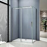Porte de douche coulissante 120x90x195cm cabine de douche verre anticalcaire paroi de douche