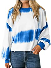 Women's Casual Long Sleeve O-Neck Color Splicing Pullover Sweatshirt T-Shirt Tops Blouses (S-XL)