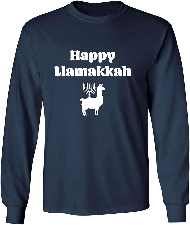 Happy Llamakkah Adult Long Sleeve T-Shirt in Navy - XXX-Large