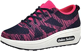 Qootent Womens Fashion Sneakers Lace Up Breathable Casual Walking Running Shoes