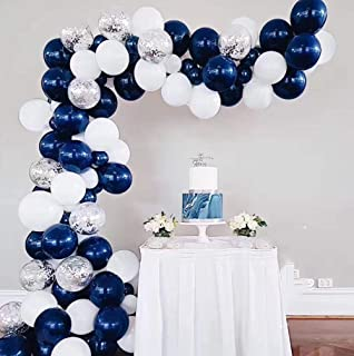 Navy Blue White Silver Balloons Garland Kit Shiny Silver Confetti Balloons Bouquet Royal Baby Shower Balloons Backdrop Graduation Little Twinkle Star Birthday Party Decorations