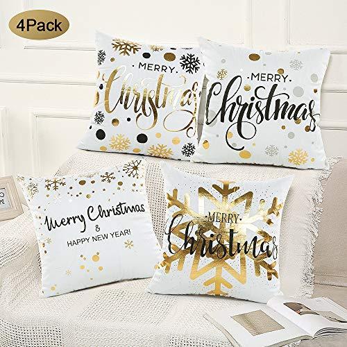 SPECOOL 4 Piezas Funda de cojín de Navidad 45x45cm Fundas de Almohada Decoración con Cremallera Invisible para Sala de Estar, sofá, Dormitorio o Coche(4pcs 1) (4pcs 2)