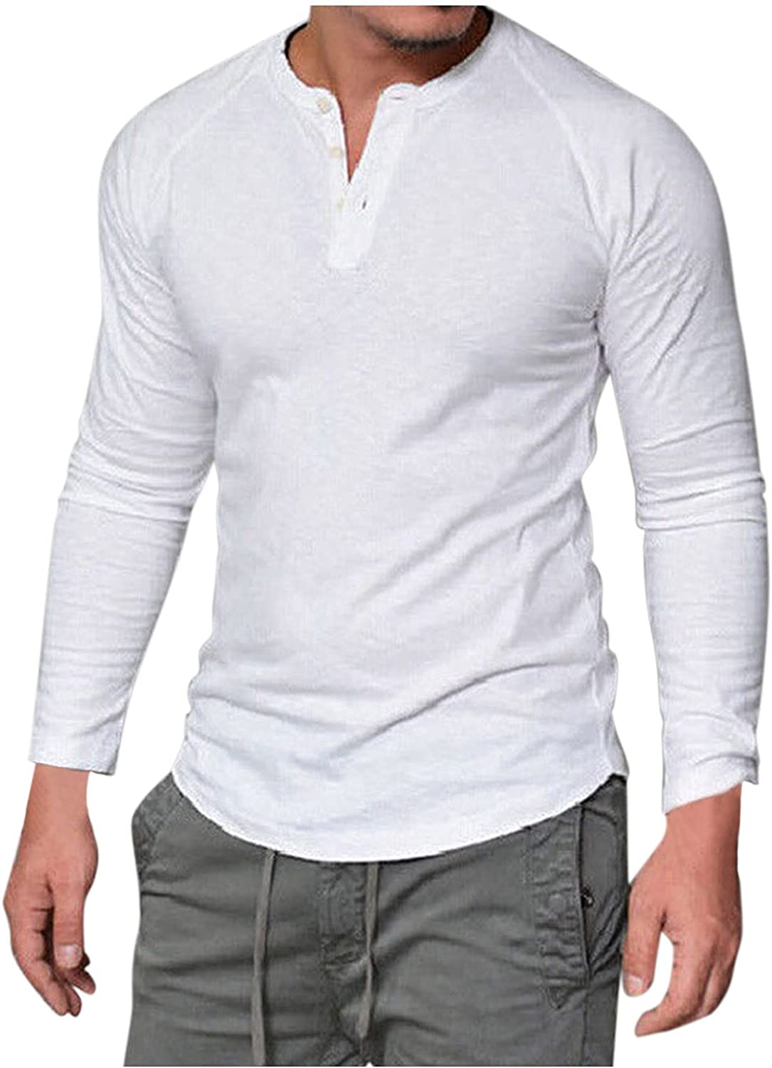 snOSUok Men's Henleys Solid Color T Shirts Long Sleeve Shirts Tees Button Down Tops Sports & Outdoors Blouse Clothing