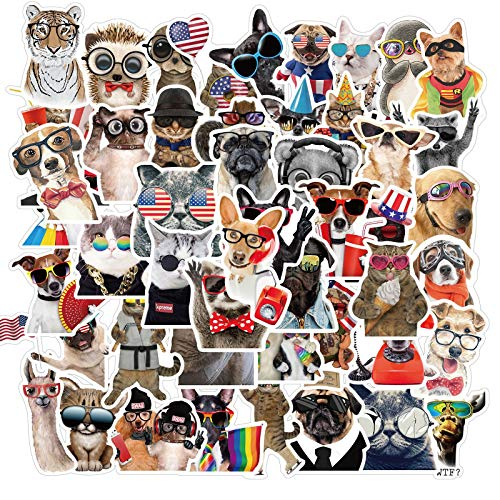50pcs Cute Animals Stickers Decal Stickers - Animal Lovers Waterproof Vinyl Stickers for Laptop, Hydroflask, Skateboard, Water Bottles ,Phone case ,Cute Animal Stickers for Teens Kids Girls
