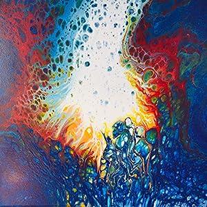 Acryl Pouring Bild I 40 x 40 x 1,5 cm I original handgemaltes Einzelstück I blau, weiß, rot, gelb I Leinwand auf…
