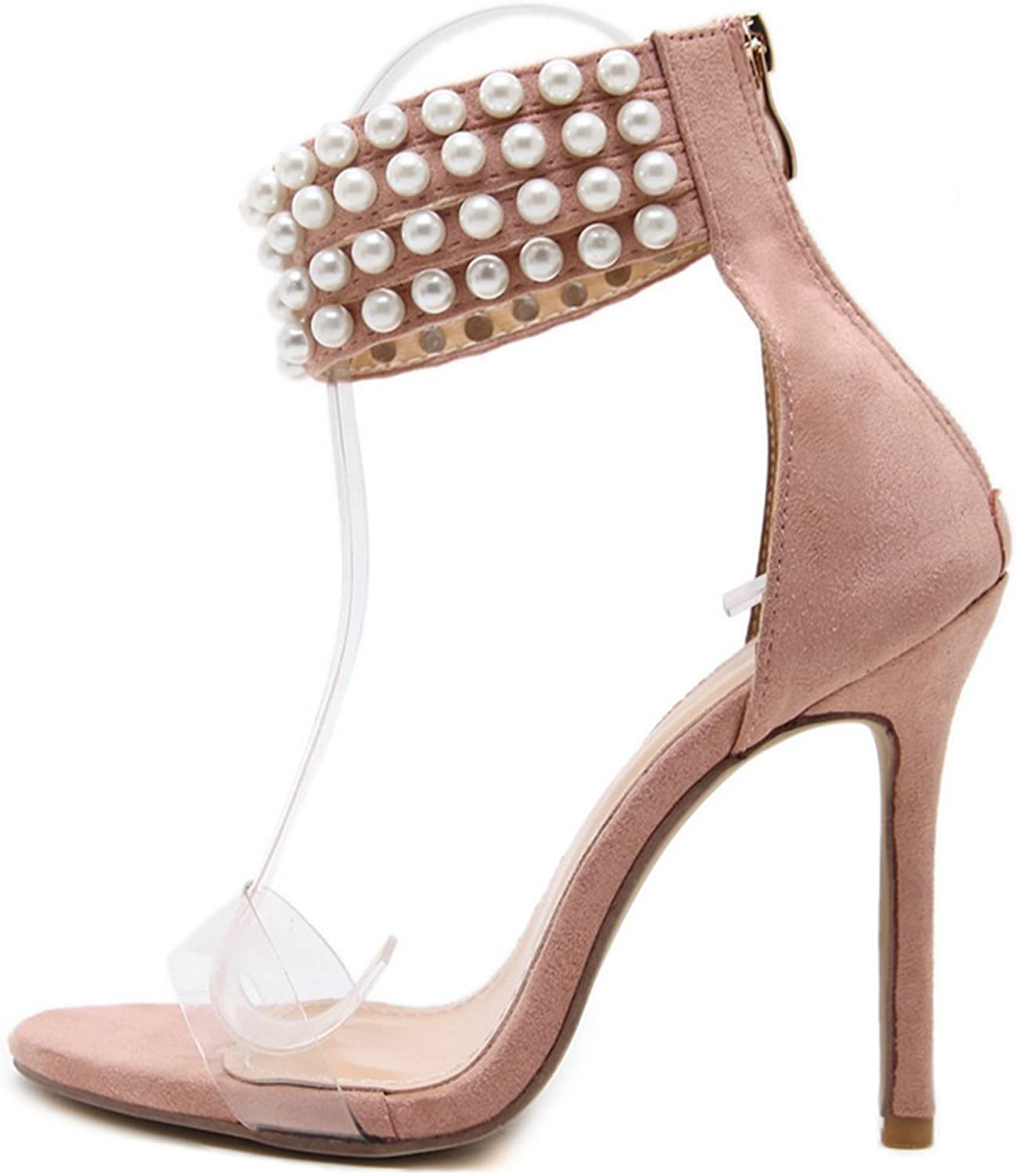 FG21ds21g Women High Heel Pumps Peep Toe Pearls Straps Evening Prom Bridal Wedding Sandals