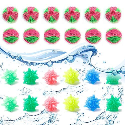 Yisika 24 Stück Wäscherei Ball,Waschbälle Fusselbälle,Wiederverwendbare Trocknerbälle Waschmaschine Trockner Ball