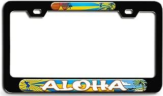 Makoroni - Aloha Surfing Bl Steel License Plate Frame - License Tag Holder 3D Design