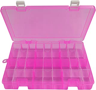 DUOFIRE Plastic Organizer Container Storage Box Adjustable Divider Removable Grid Compartment Big Clear Slot Box for Jewelry Beads Earring Container Tool Fishing Hook Small Accessories, Pink 34 Grids