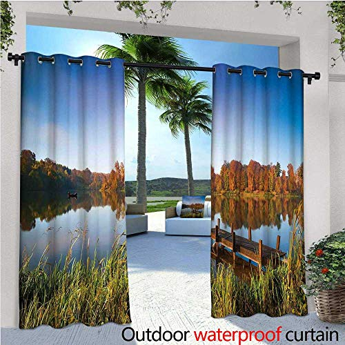 cobeDecor Scenery Outdoor Blackout Curtains Lake View Fishing Countryside Themed with Trees and Long Reeds Work of Art Photo Outdoor Privacy Porch Curtains W120 x L84 Multicolor