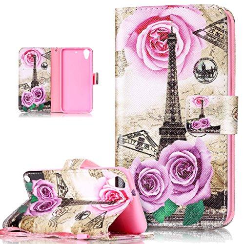 Kompatibel mit HTC Desire 626G Hülle,HTC Desire 626G Schutzhülle,Bunte Gemalt PU Lederhülle Flip Hülle Ständer Karten Slot Wallet Tasche Case Schutzhülle für HTC Desire 626G,Blumen Rose Eiffelturm