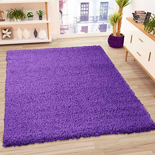 VIMODA Alfombra Prime Tipo Shaggy de Pelo Largo en Color Lila, alfombras Modernas para el salón y el Dormitorio, Monocolor, Maße:Ø 80 cm Rund