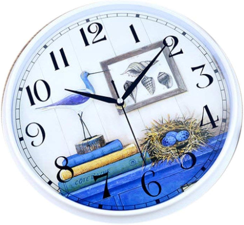 XHCP 12 Pulgadas Elegante Minimalista Reloj Creativo Tipo de Parojo rojoonda Sala de Estar Dormitorio Casa Moderna Reloj de Cuarzo Mudo Estilo Mediterráneo (Color  B, Tamaño  Estilo Dos)