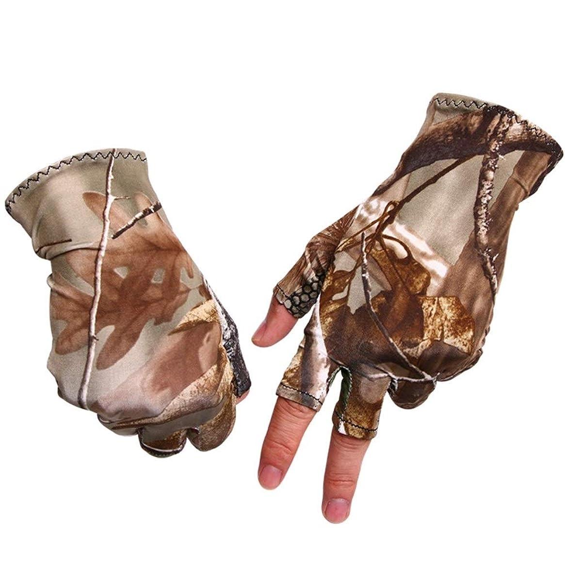 バッテリー調子ディスコMJZJP 釣り手袋滑り止めと通気性汗吸収3本指手袋屋外釣り手袋 (Color : Camouflage, Size : M)