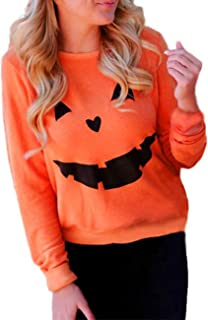 Women's Halloween Pumpkin Face Long Sleeve Sweatshirts Casual Pullover Tops