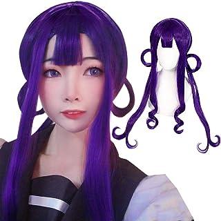 ANOGOL Wig Cap+Purple Wigs Long Wavy Cosplay Wig Purple Cosplay Wigs for Anime