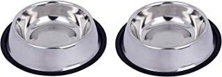Royale Dog Anti Skid Cat Food Bowl Plain Stainless Steel Bowl for Feeding Small Dogs Cats and Kittens Only (200ml X 2) Ver...