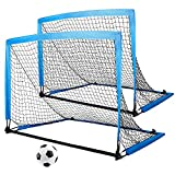 Juego de 2 porterías de fútbol para niños, plegables y portátiles, con bolsa para transportar, 8 anclajes para el suelo para jardín interior, porterías de fútbol