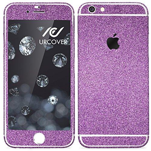 Urcover® Glitzer-Folie zum Aufkleben kompatibel mit Apple iPhone 7 Folie in Lila   Zubehör Glitzerhülle Handyskin Diamond Funkeln Schutzfolie Handy-Schutz Bling Glamourös