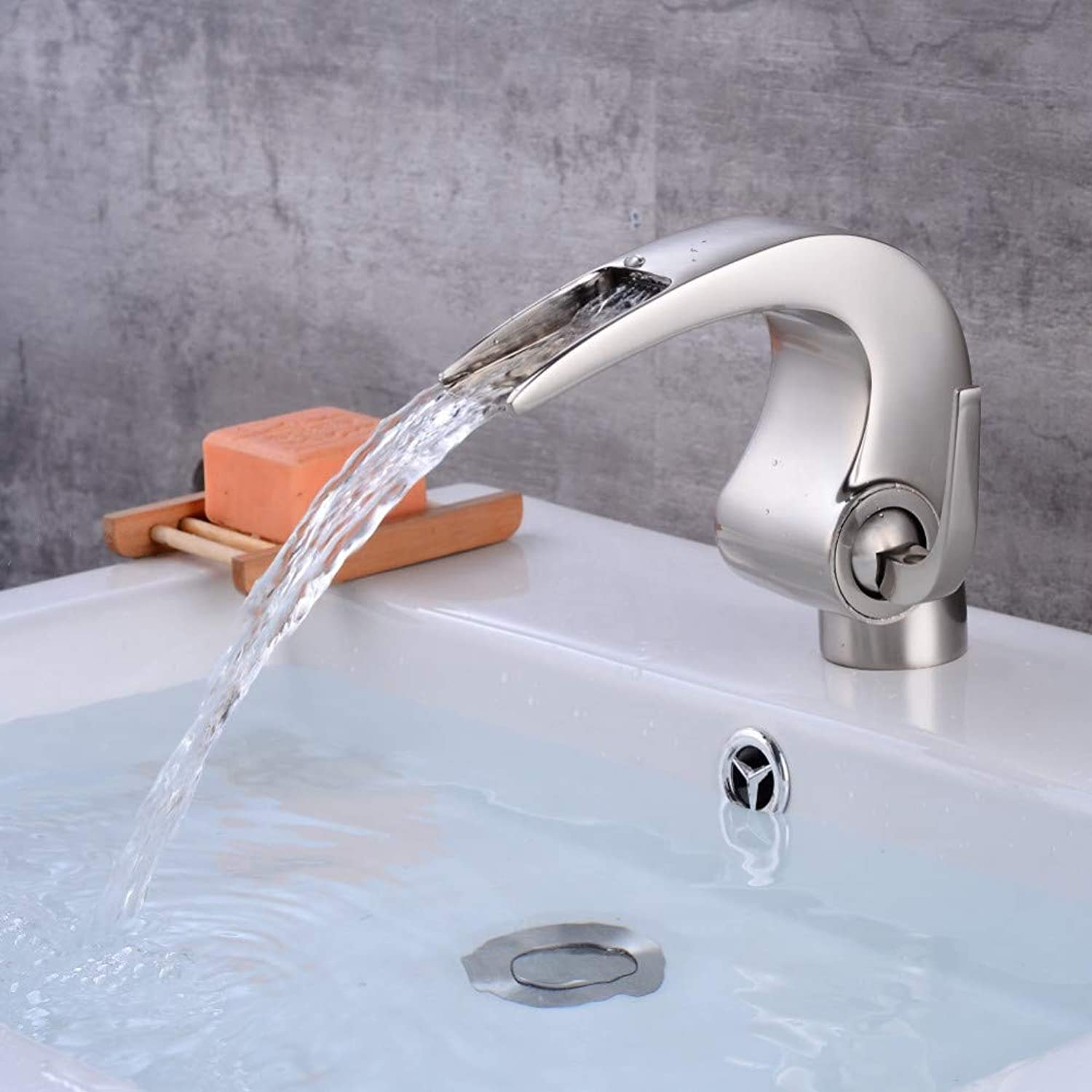 YHSGY Bathroom Sink Taps Nickel Bathroom Waterfall Faucet Crane Nicke Bathroom Basin Faucet Bathroom Basin Mixer Tap with Hot and Cold
