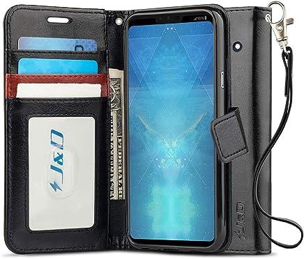 J&D Case Compatible for LG V40 Case, [Wallet Stand] [Slim Fit] Heavy Duty Protective Shock Resistant Flip Cover Wallet Case for LG V40 Wallet Case - Black