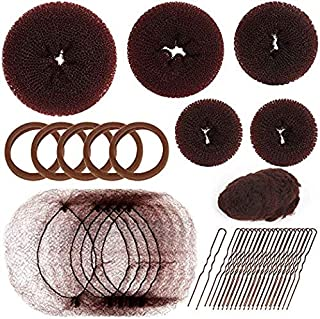 Teenitor Hair Donut Bun Maker Set with 5 Pieces (1 Extra-large 1 Large 1 Medium and 2 Small), 20pcs Invisible Hair Nets for Ballet Bun, 5 Pieces Cotton hair bands, 20 Pieces Hair Bobby Pins, Brown