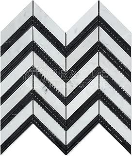 Carrara White Italian (Bianco Carrara) Marble Large Chevron Mosaic Tile with Black Marble Strips, Honed