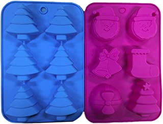 2 Silicone Christmas Soap Molds DIY – Holiday Party Baking Cake Soaps - Trees Stockings Bells & Bows - Santa Claus Flexible Mold Supplies – Xmas Shapes Bundle by Jolly Jon