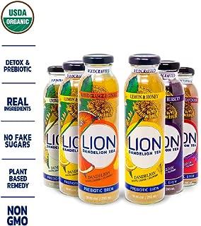 LION Organic Bottled Dandelion Tea | Prebiotic Tea Full of Antioxidants Variety | 6 Pack