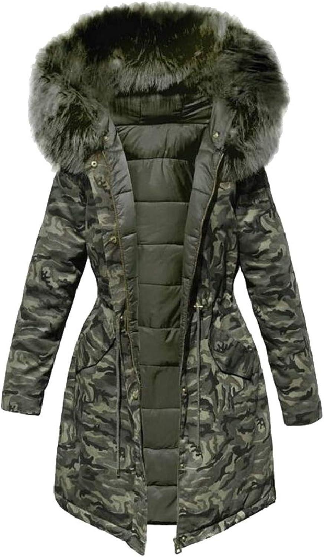LKCENCA Womens Parka Jacket Faux Fur Hooded Winter Down Padded Coat Outdoor