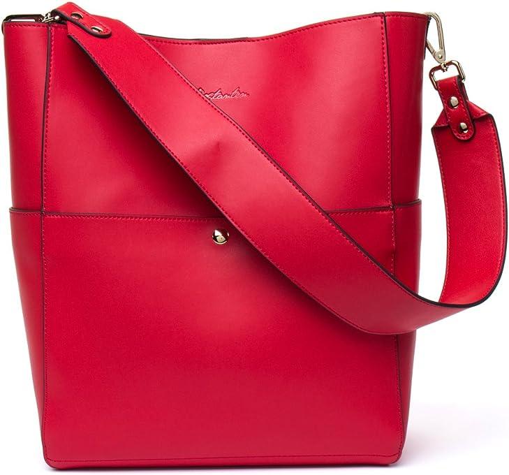 BOSTANTEN Women's Leather Handbags Tote Purses Shoulder Bucket Bags Red