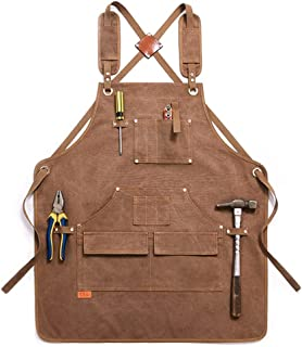 Ahpoun Work Apron Thickened and Waterproof Garden Canvas Apron with Adjustable Cross Straps for Men and Women