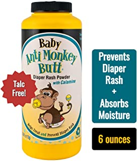 Anti Monkey Butt Baby Powder | Prevents Diaper Rash and Absorbs Moisture | Talc Free | 6 Ounces