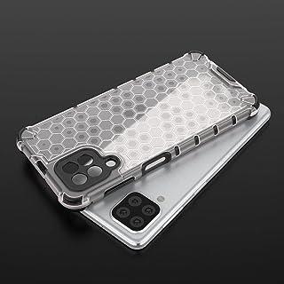 غطاء مضاد للصدمات لهاتف Samsung Galaxy A22 4G / Samsung Galaxy M32 - حواف سوداء شفافة خلية النحل
