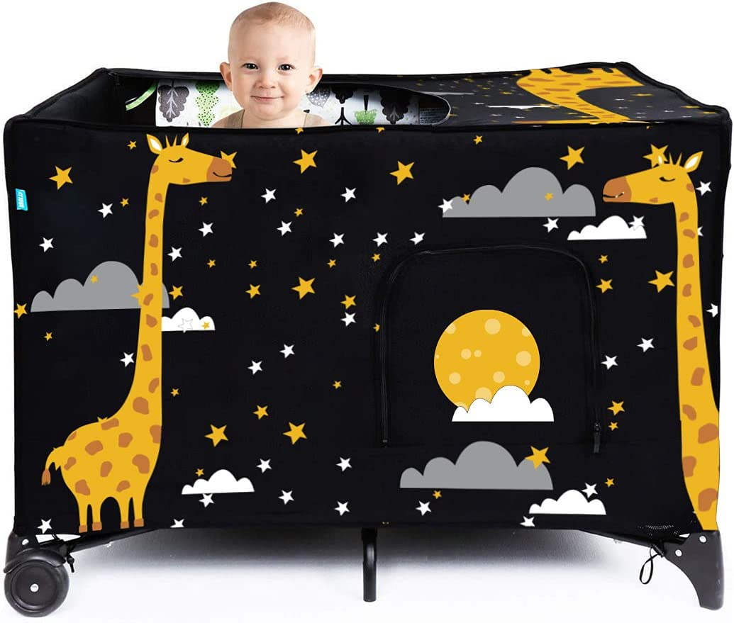 LASTMINVIN Crib Blackout Cover | Travel Crib Canopy Cover for Pack and Play | Portable Breathable Stretchy Crib Tent for Indoor or Outdoor to Sleeping