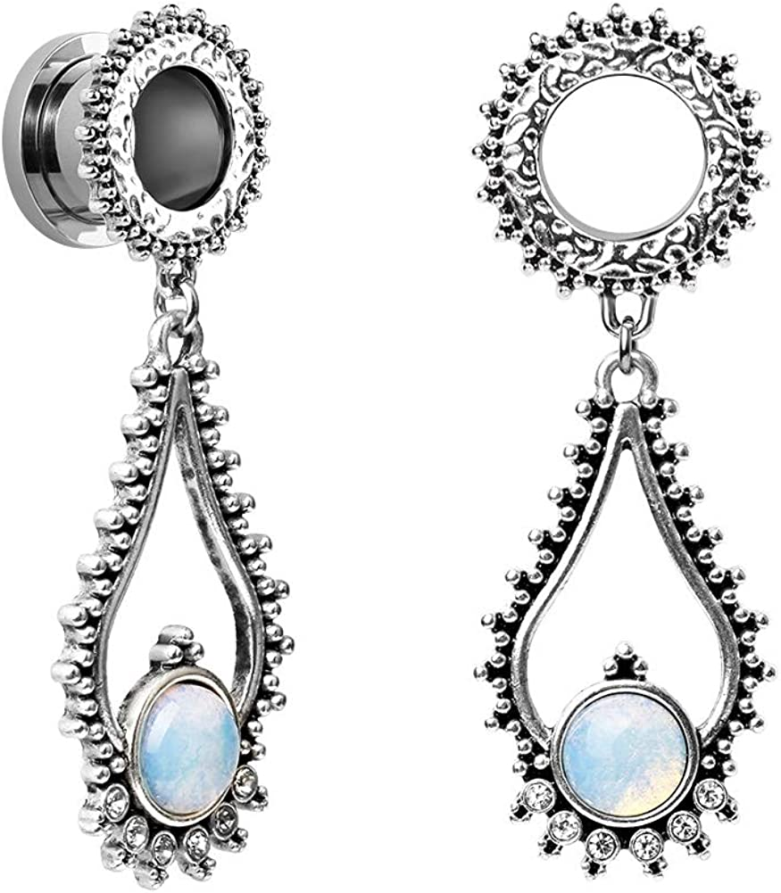High quality TBSEN Opalite Moonstone Dangle Pendant Plugs Ear Steel Stainless Baltimore Mall