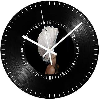 GYJCD Reloj De Pared De Registro Digital Silencioso Negro Vintage Vinilo Sala De Estar Reloj De Registro Números Árabes De...