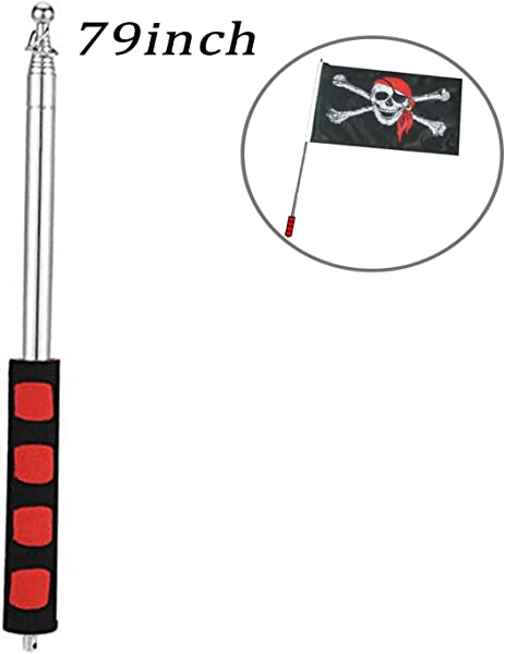 Godehone Telescoping Flagpole Stainless Steel Banner Tour Guide Teachers Flag Sign Collapsable Pole 79 1 Pc