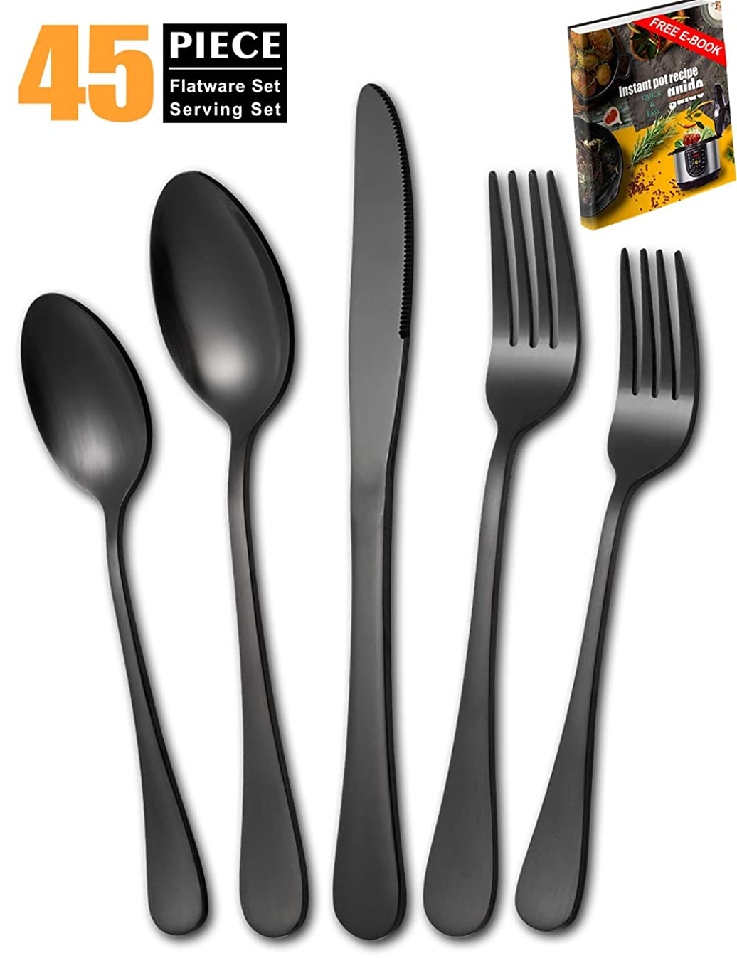 Matte-Black-Silverware-Set, 45 Piece Stainless Steel Flatware Set Cutlery Utensil Service for 8 with Large Spoon Fork Knife Set