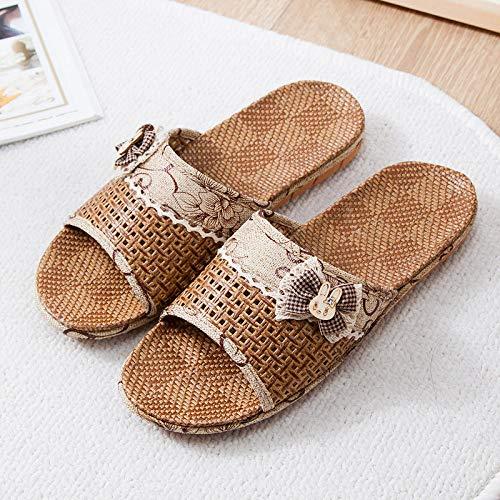 HUSHUI Bañarse Sandalias Zapatillas para Mujer,Pantuflas de ratán Bowknot, Sandalias de Pareja de Interior-Marrón 1_37-38,Zapatos de Playa y Piscina para